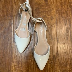 White patent ankle strap pointed toe flats 7.5